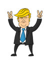Donald Trump caricature holding victory signs