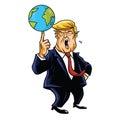 Donald Trump Cartoon Playing Globe. Vector Caricature Illustration