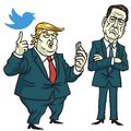 Donald Trump With James Comey Cartoon Vector. Washington. June 15, 2017