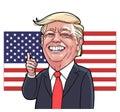Donald Trump laughing caricature vector