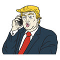 Donald Trump on Phone. Cartoon Caricature Portrait Vector Illustration. July 27, 2017