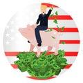 Donald Trump riding a pig piggy bank