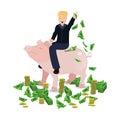 Donald Trump riding a pig piggy bank on a white