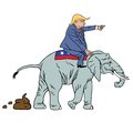 Donald Trump Riding Republican Elephant Caricature