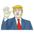 Donald Trump Says, Talk to My Hand. Cartoon Vector Illustration. August 8, 2017