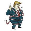 Donald Trump Tongue Tied Cartoon. Vector Illustration. May 5, 2017