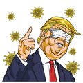 Donald Trump Wearing Corona Virus Mask on Face Blinded Eyes Cartoon Vector Drawing. March 12 , 2020