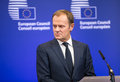 Donald tusk at the informal eu summit brussels belgium feb president of european council in brussels belgium Royalty Free Stock Photography