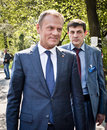 Donald tusk in kiev april ukraine president of the european council visited the place of death activists of euromaidan Royalty Free Stock Image