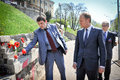 Donald tusk in kiev april ukraine president of the european council visited the place of death activists of euromaidan Royalty Free Stock Photos