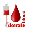 Donate blood donation concept with drop and bag of Royalty Free Stock Photo