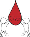 Donate blood drop with word give for people on white background Stock Photos