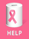 Donate for breast cancer research and prevention realistic illustration of a donation can with a pink ribbon illustration Royalty Free Stock Images