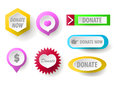 Donate button collection. Set of web buttons for charity Royalty Free Stock Photo