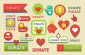 Donate buttons vector set illustration help icon donation gift charity isolated support design sign contribute