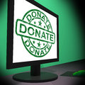 Donate computer shows charitable donating and fundraising showing Royalty Free Stock Images