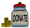 Donate jar shows fundraising charity showing and contributions Royalty Free Stock Image