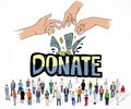 Donate money charity generous hands concept Stock Photos