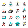 Donate money set outline icons help icon donation contribution charity philanthropy symbols humanity support vector Royalty Free Stock Photo