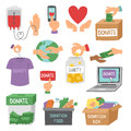 Donate money set outline icons help symbols donation contribution charity philanthropy symbols humanity support vector