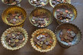 donate Thai coins on old tray Royalty Free Stock Photo