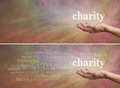 Donate to charity campaign banner woman s outstretched open hand with the word above surrounded by a related word cloud on a wide Royalty Free Stock Image