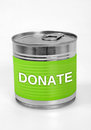 Donate word on food can Royalty Free Stock Images