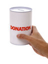 Donation box collecting for charity holding a Royalty Free Stock Photos