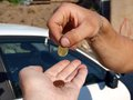 Donation hands making poor with euro coins Royalty Free Stock Photo