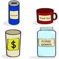 Donation jar and cups Royalty Free Stock Photos