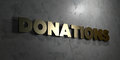 Donations - Gold sign mounted on glossy marble wall - 3D rendered royalty free stock illustration