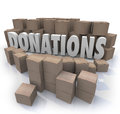 Donations word cardboard boxes charity drive collection warehous many of donated items clothes food and other goods in need around Royalty Free Stock Image