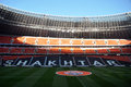 Donbass arena empty stands photo was taken during the match between shakhtar donetsk city and dnepr dnepropetrovsk city at stadium Royalty Free Stock Photo