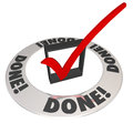 Done check mark in checkbox mission job accomplishment complete word and checkmark a box to illustrate finishing or completing a Stock Image