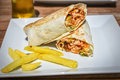 Doner chicken kebab Turkish meal. Royalty Free Stock Photo