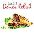 Doner kebab. Healthy fast food and street food item. -