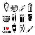 Doner kebab, kebab in wrap or pita bread, shish and adana kebab skewers icons set