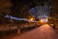 Donetsk city park night decorated alley in Royalty Free Stock Photos