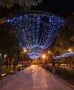 Donetsk city park night decorated alley in Stock Photo