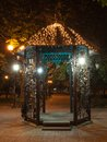 Donetsk city park night decorated alley in Stock Photography