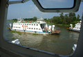 Dong thap viet nam january the scene of transportation passenger by ferry boat on the river enclosed by another window s ferry Royalty Free Stock Photo