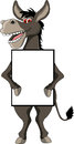 Donkey cartoon with blank sign Royalty Free Stock Photo
