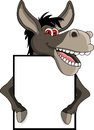 Donkey cartoon with blank sign Royalty Free Stock Images