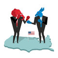 Donkey and elephant fight. Democrat and Republican opposition. B Royalty Free Stock Photo