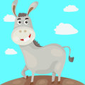Donkey illustration of landscape cartoon Stock Images