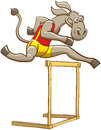 Donkey running and jumping over a hurdle Royalty Free Stock Photo