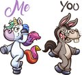 Donkey and unicorn posing