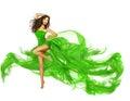 Donna che balla vestito verde tessuto di fashion model flying del ballerino Immagine Stock