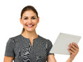 Donna di affari felice holding digital tablet Immagine Stock