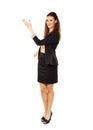Donna di affari gesturing in copyspace Fotografia Stock Libera da Diritti